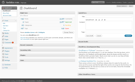 Wordpress 2.7 screenshot
